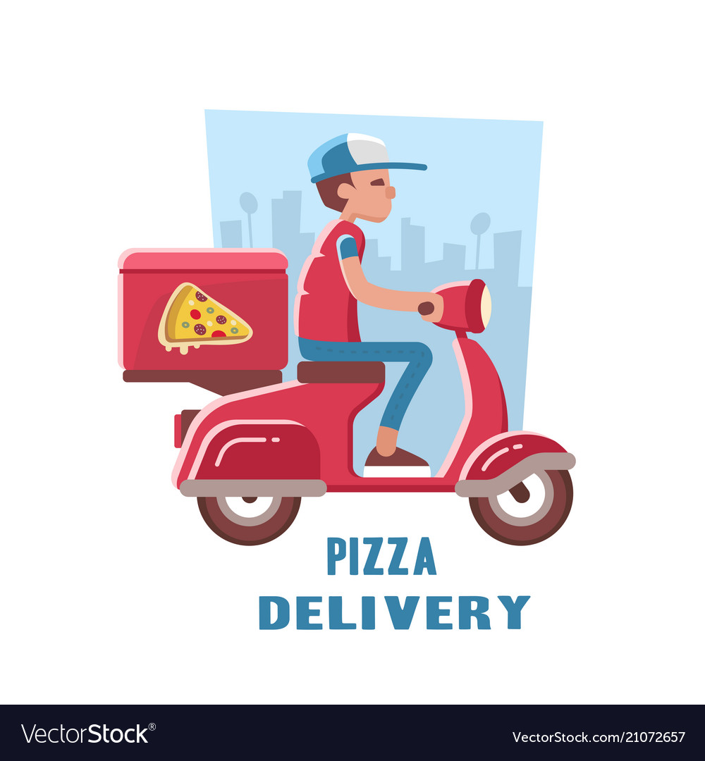 Fast and free delivery of pizza on the scooter