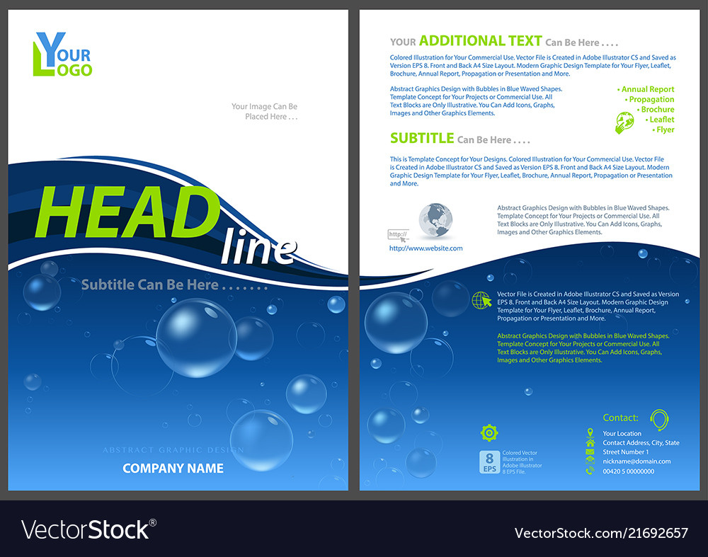 Flyer Template With Water Bubbles Vector Image