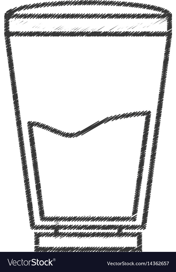 Glass water fresh line vector image