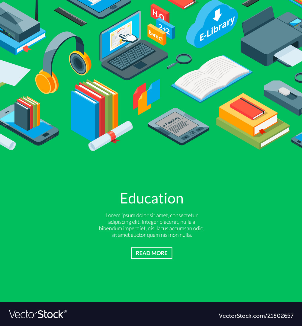 Isometric online education icons background