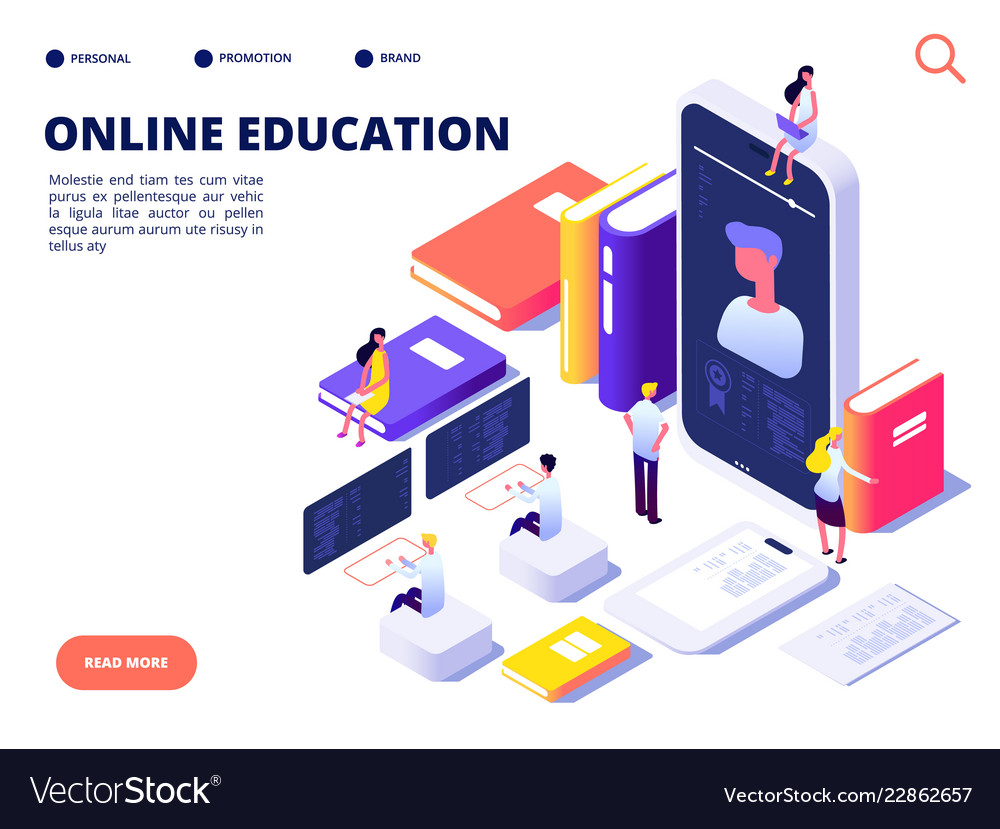 Online education concept internet class training vector