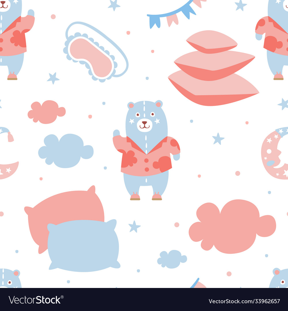 Pajama party seamless pattern good night nursery