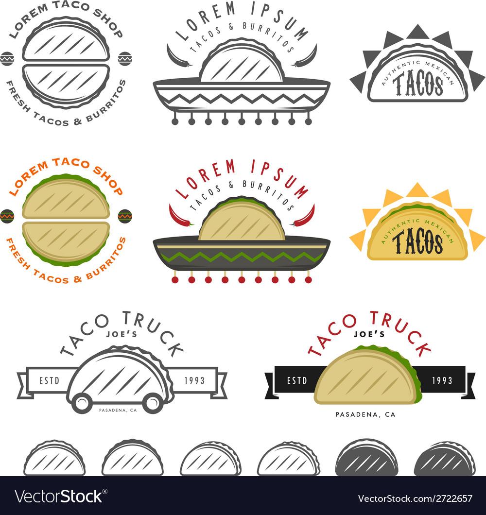 Retro Mexican taco design elements vector image