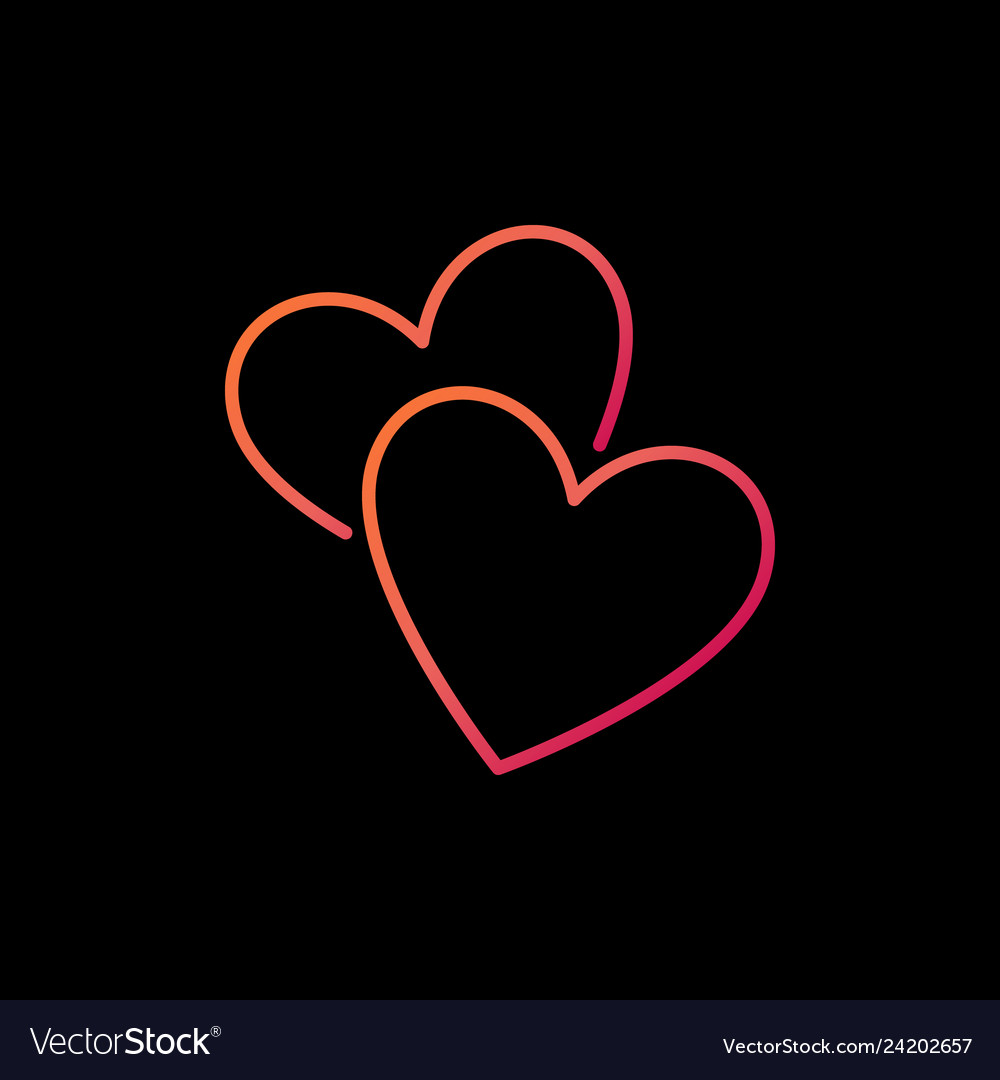 Two hearts colorful line icon love concept