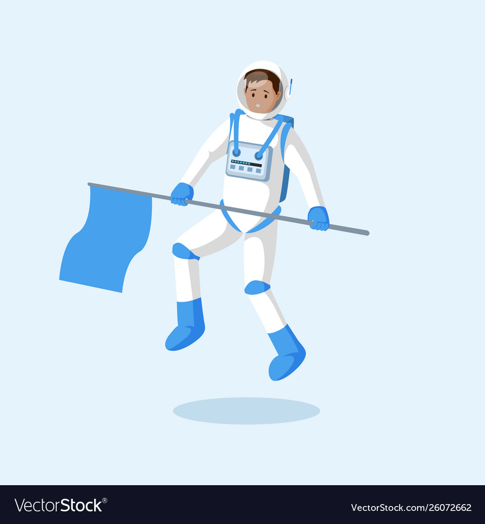 Astronaut with flag floating flat
