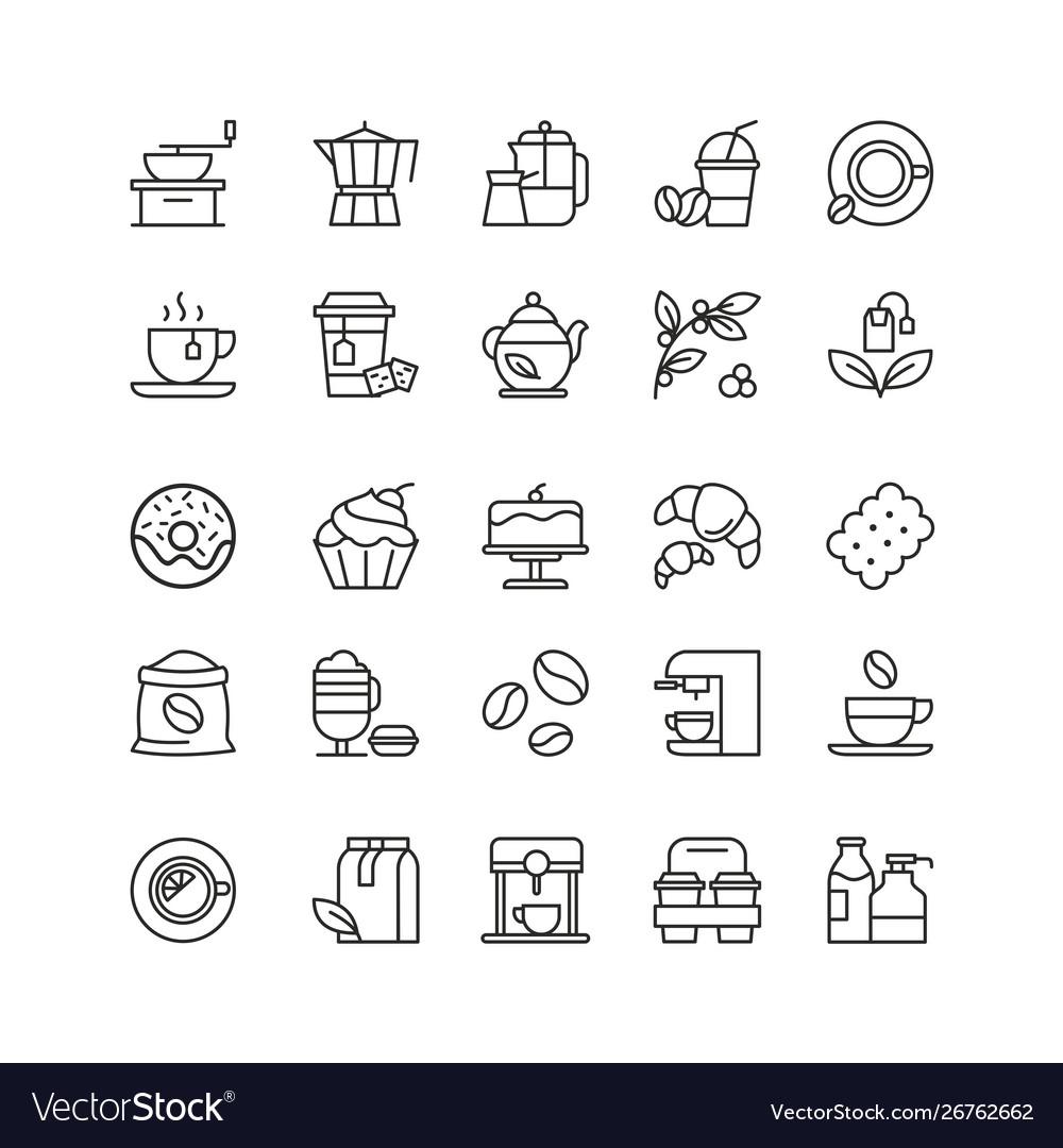 Coffee and tea drinks linear icons set