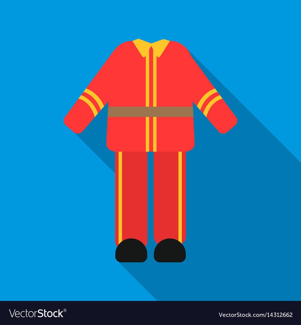 Firefighter uniform icon flat single silhouette