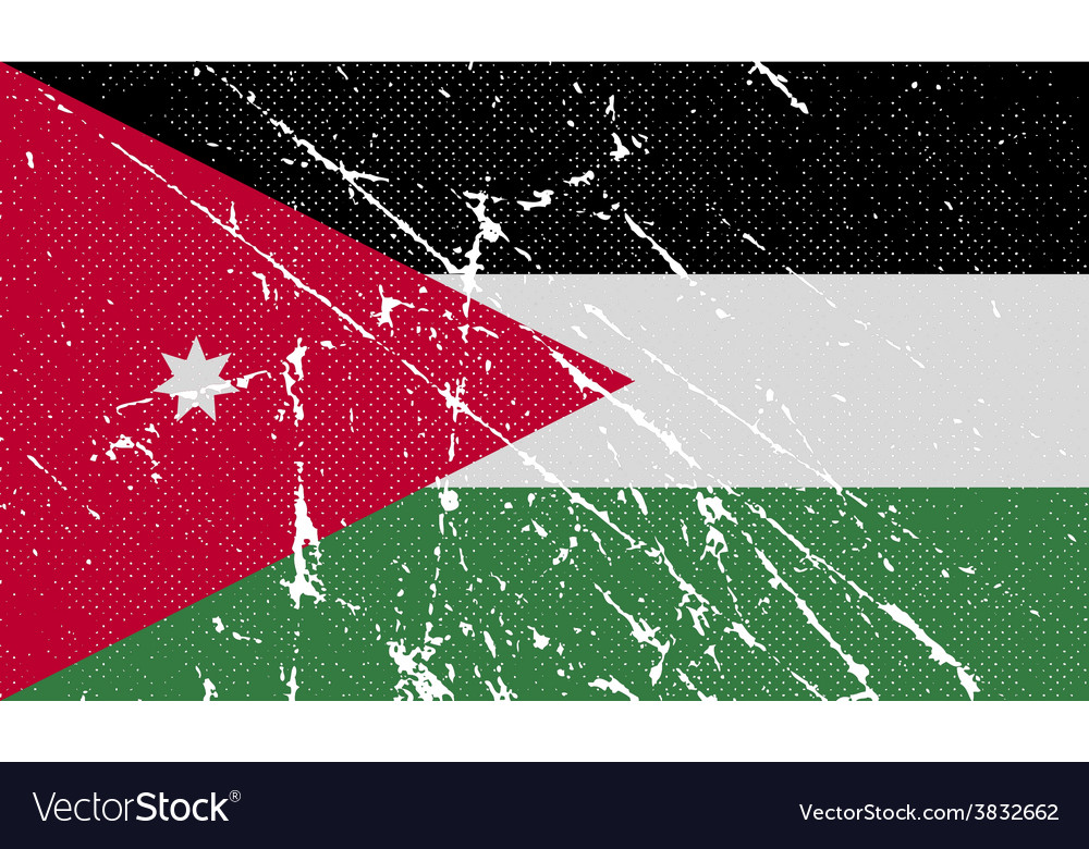 flag of jordan with old texture royalty free vector image