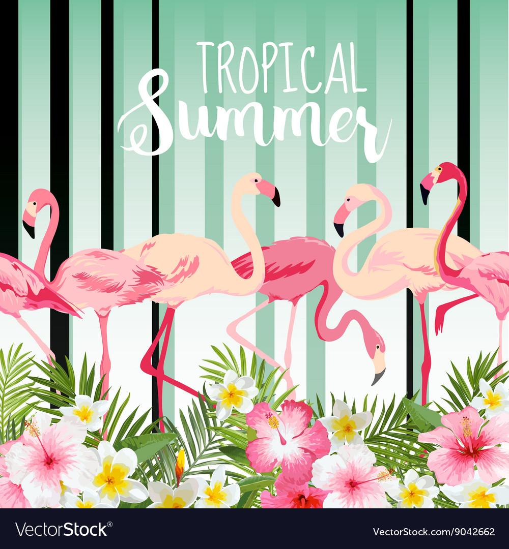 Flamingo Bird Background Retro Pattern Tropical