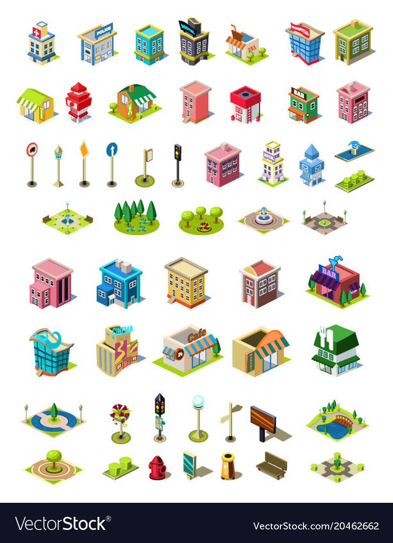 Isometric icons set for city constructor