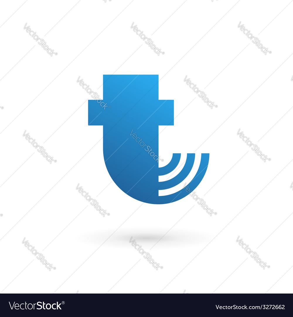Letter T wireless logo icon design template vector image