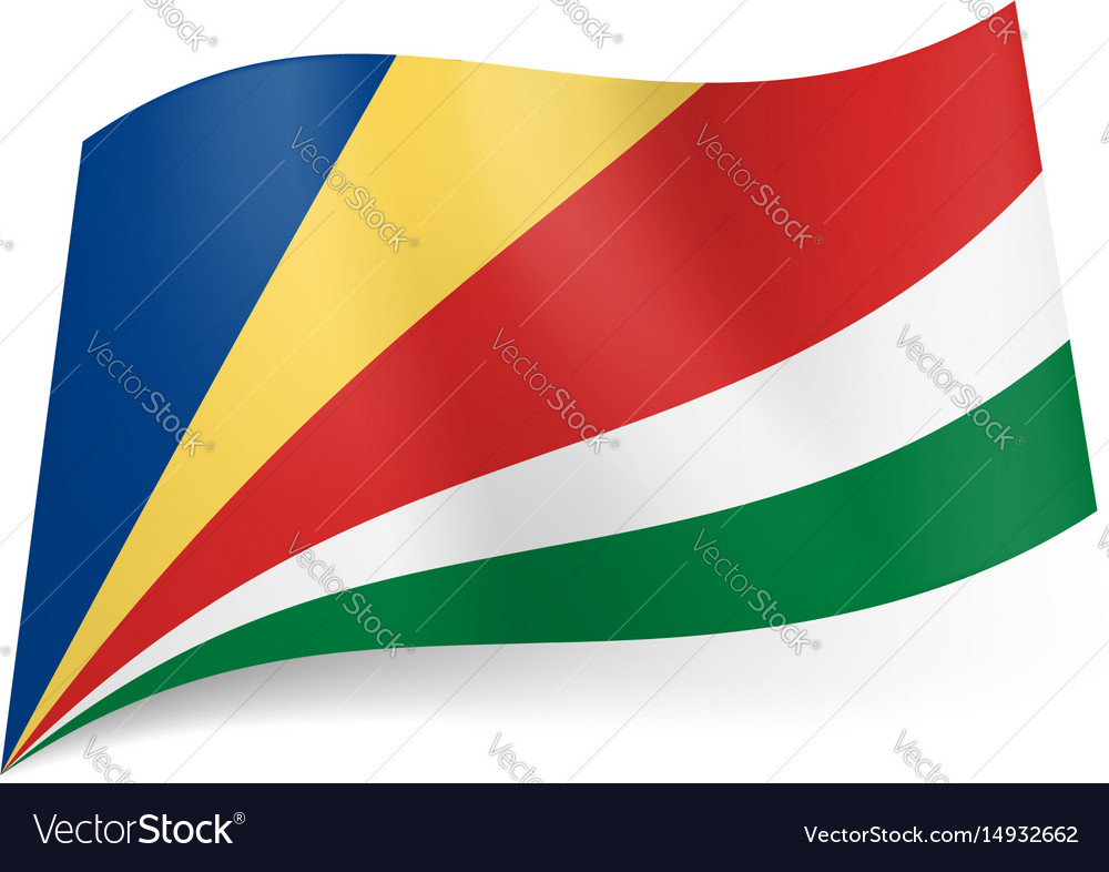 National flag of seychelles oblique blue yellow