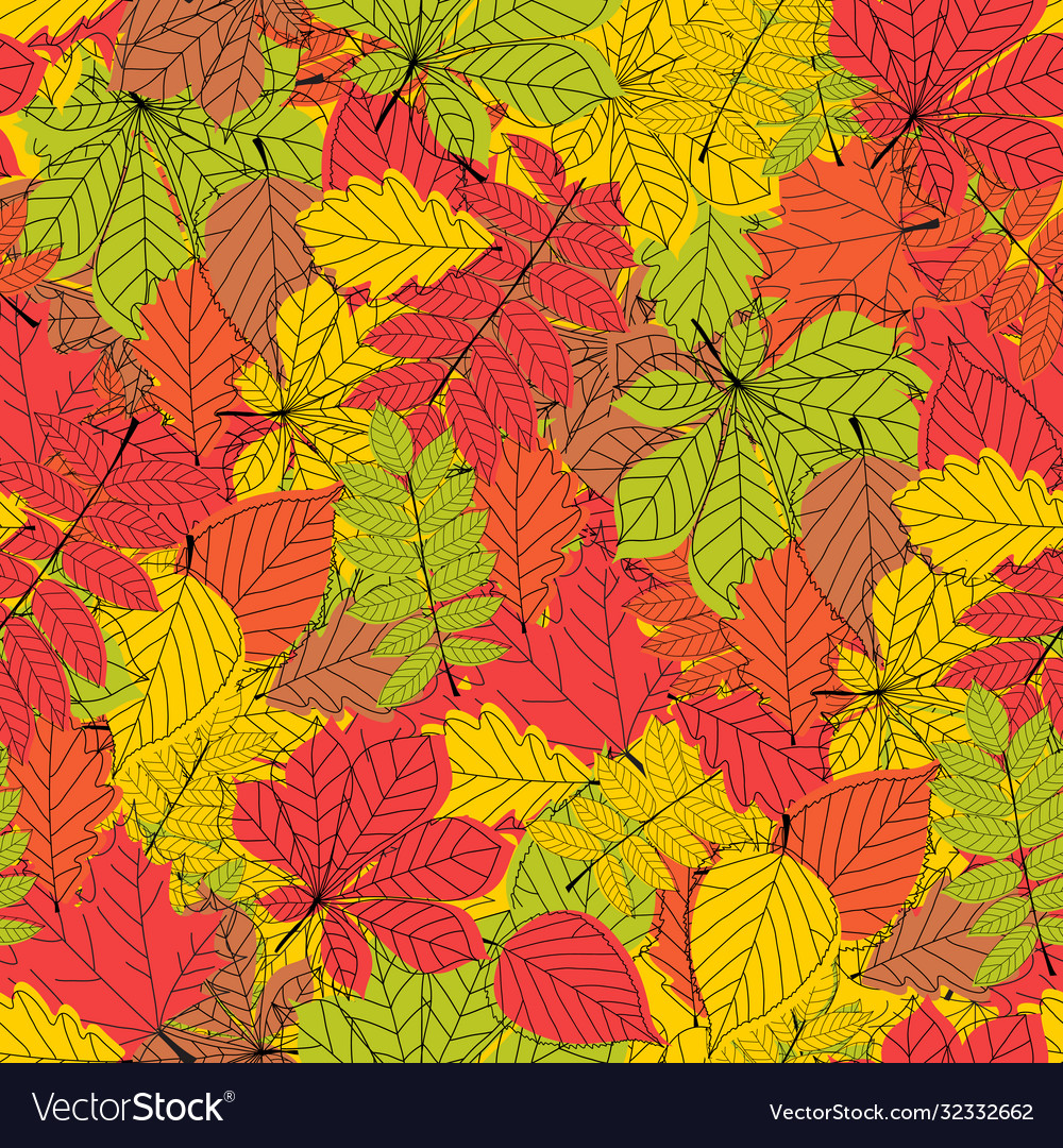 Seamless pattern abstract autumn leaves background