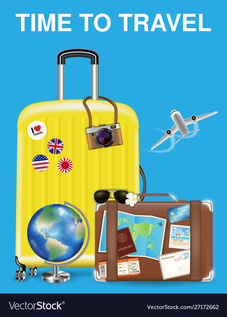 Time to travel with bag and world travel object
