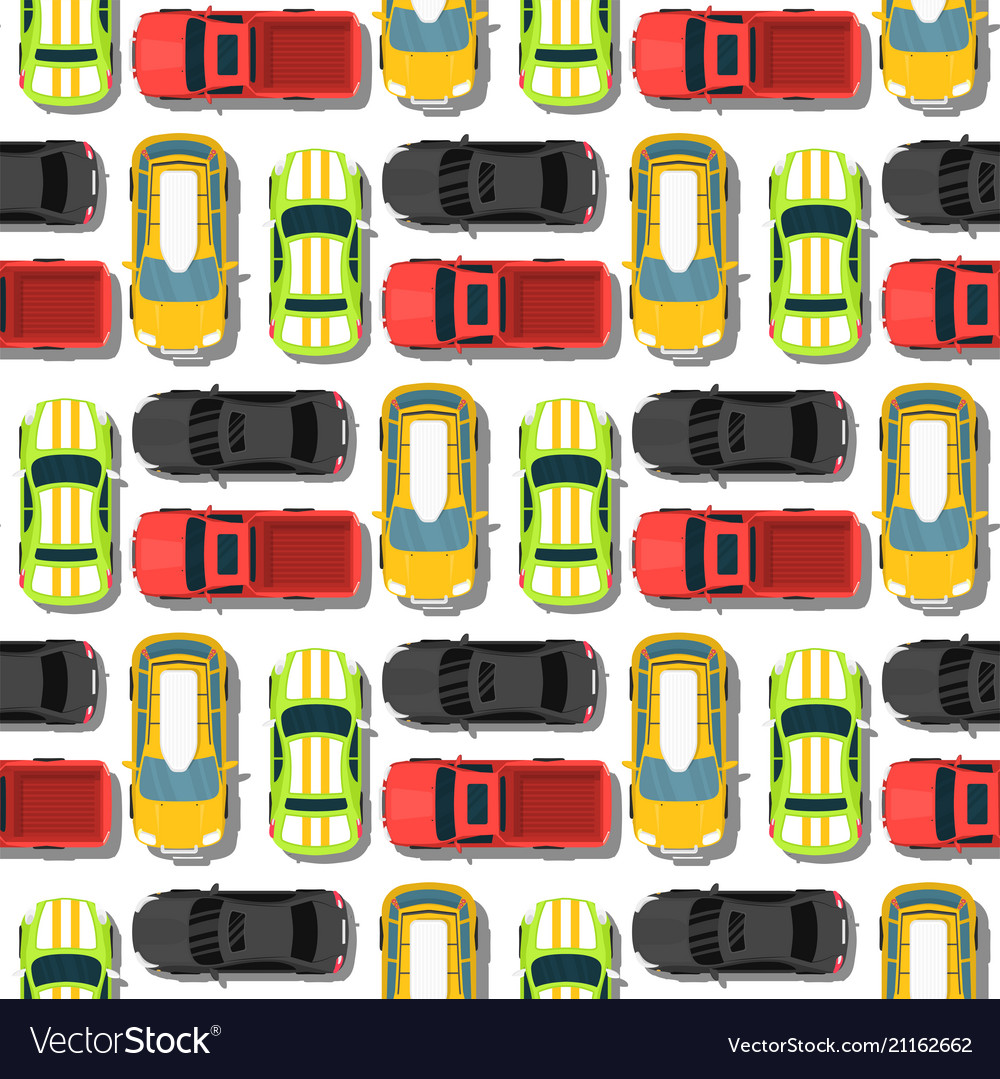 Top view colorful car toys seamless pattern
