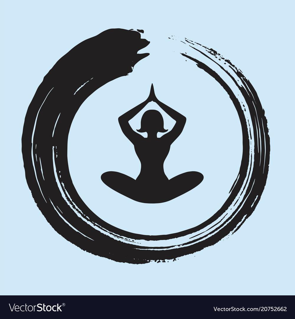Yoga Lotus Position With Enso Zen Circle Vector Image
