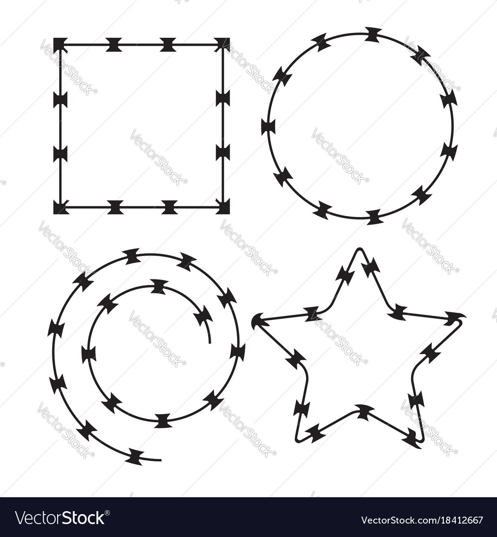 Barbed wire black silhouettes frame pattern brush