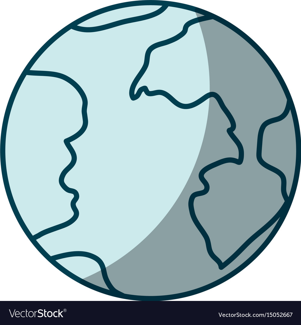 Blue shading silhouette of earth globe icon