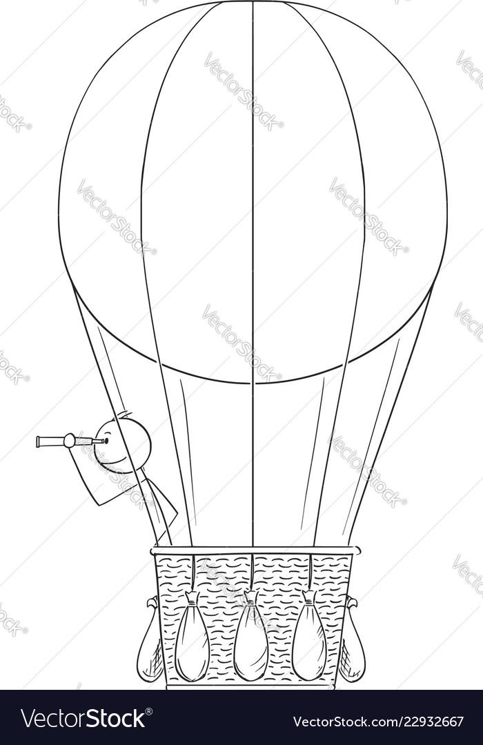 Cartoon of man or businessman in hot air ballon