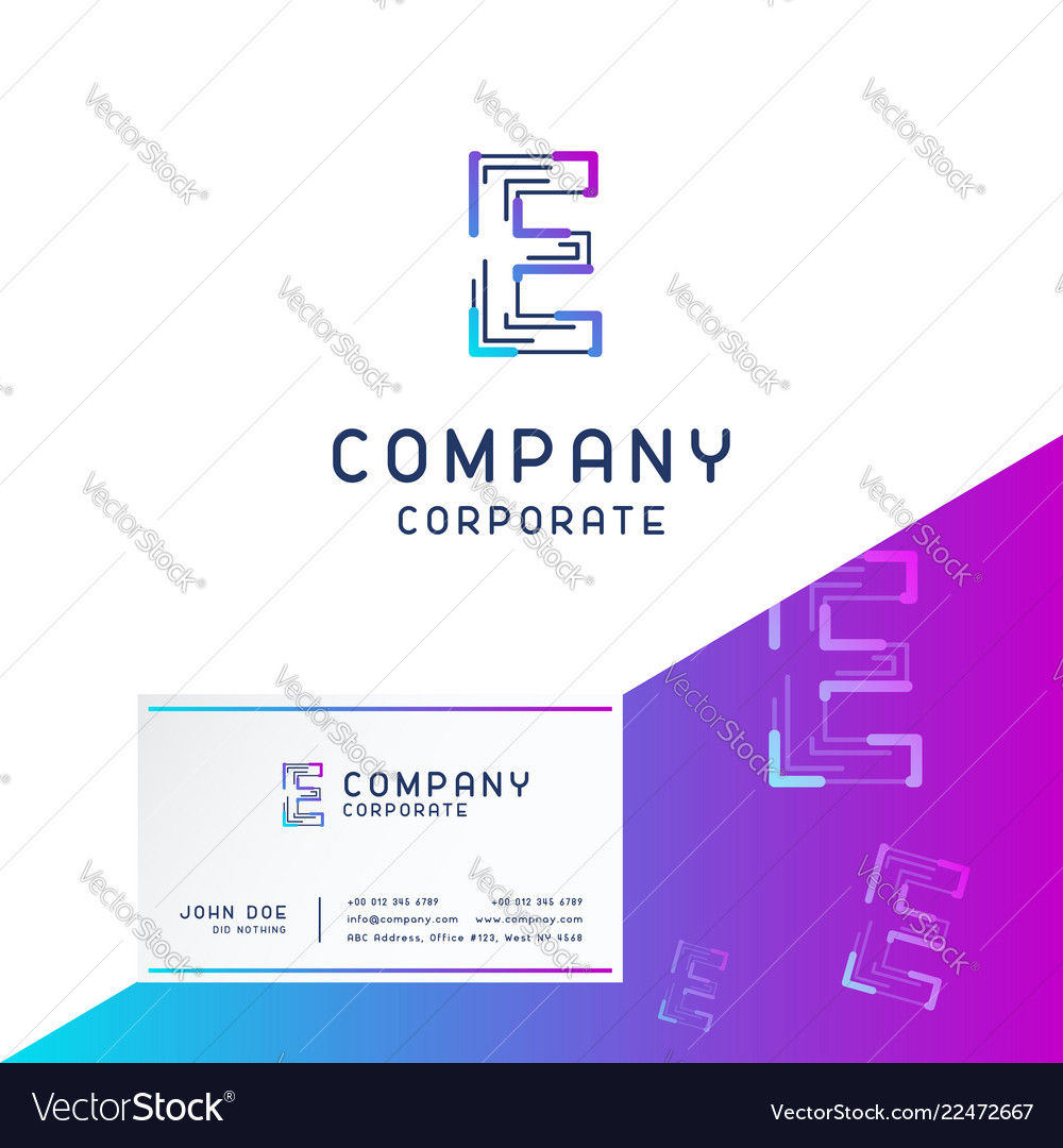E company logo design with visiting card