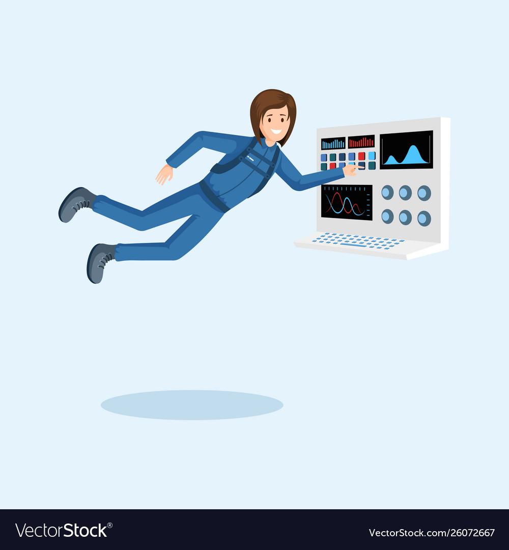 Female astronaut training flat