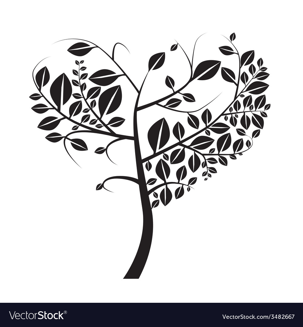 Heart Shaped Black Tree on White Background