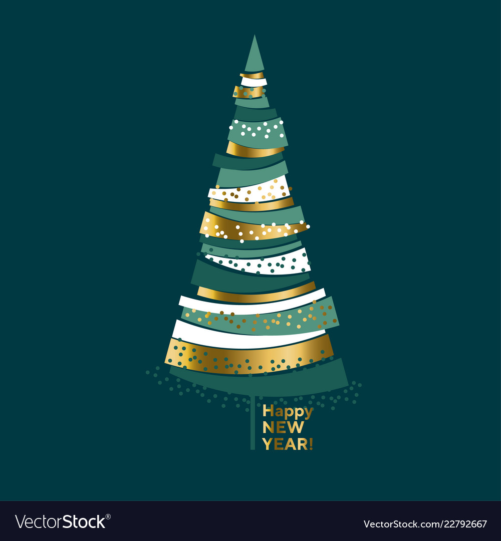 Luxury elegant gold and green christmas tree