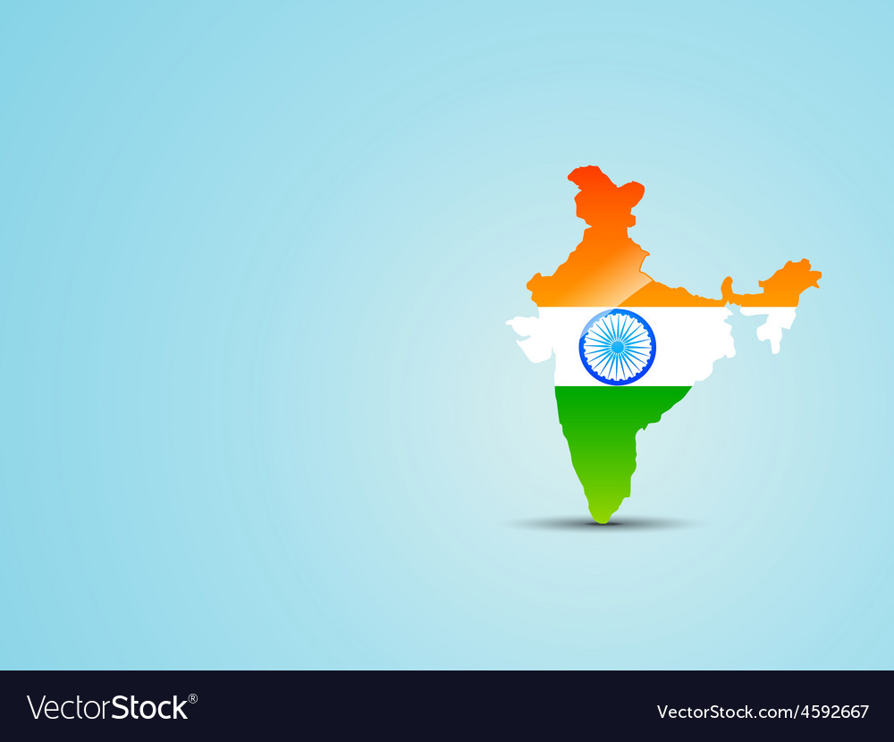 India Map Flag.Map Of India With Indian Flag Royalty Free Vector Image