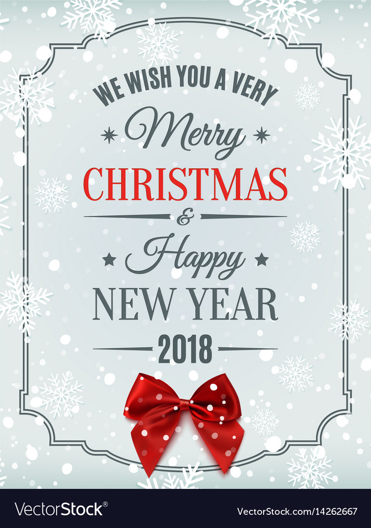 merry christmas and happy new year 2018 card vector image