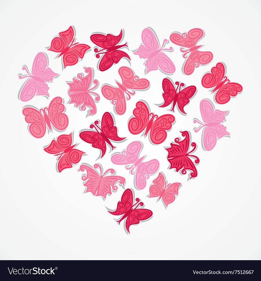 Pink Heart Shape Butterfly Design