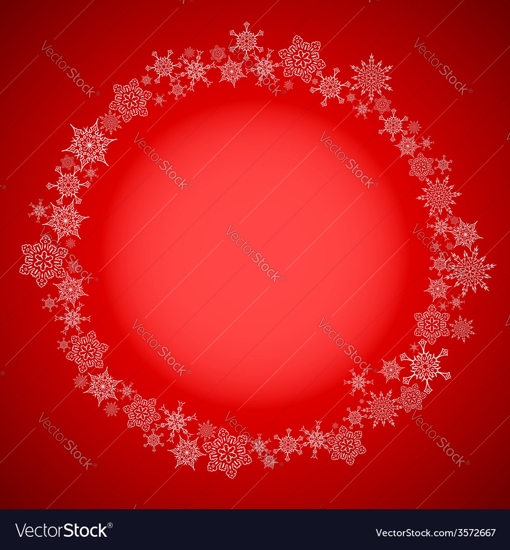 Red christmas frame with snowflakes circle