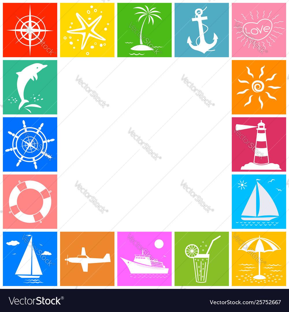 Sea ocean travel summer vacation icon border