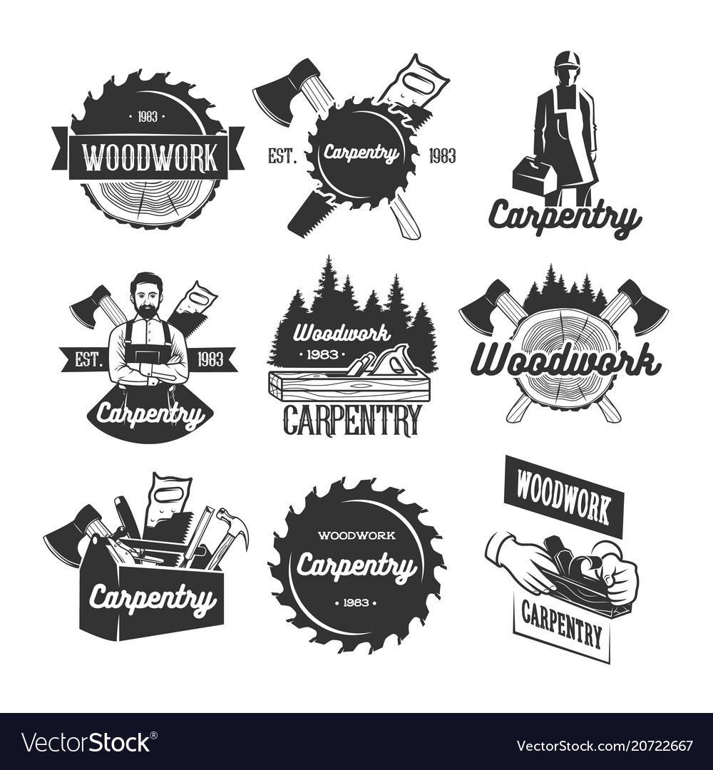 Set Of Carpentry Logo Templates