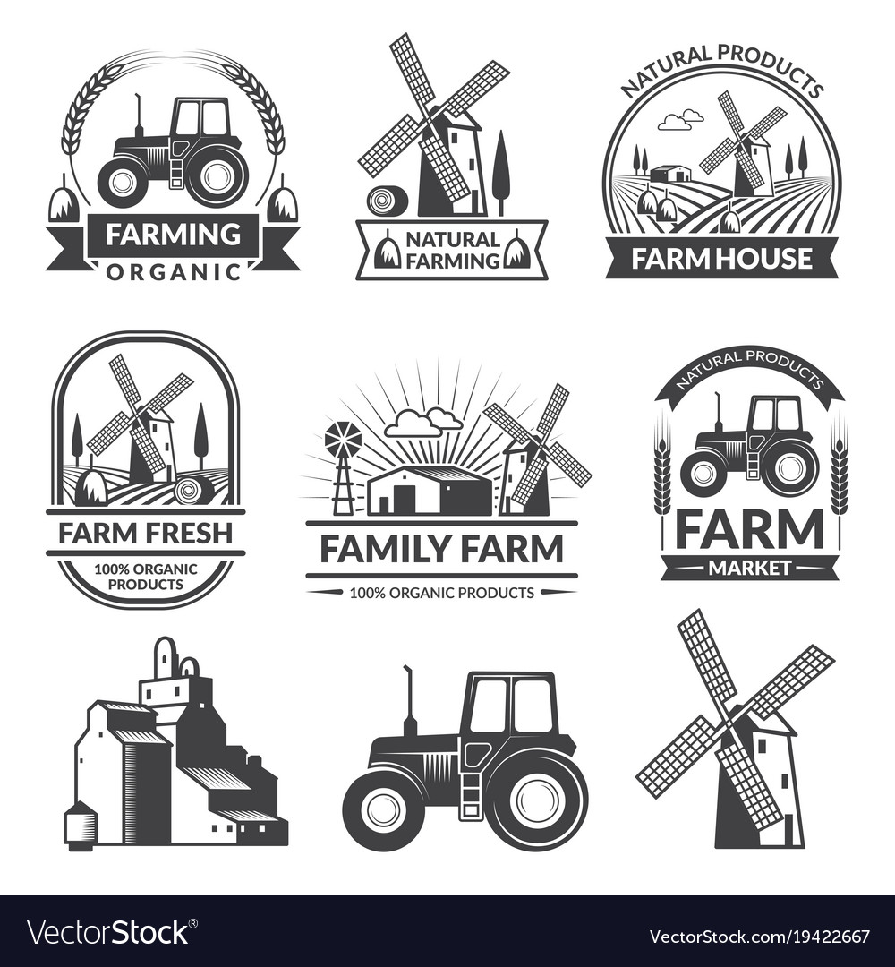 set of farm logos royalty free vector image vectorstock