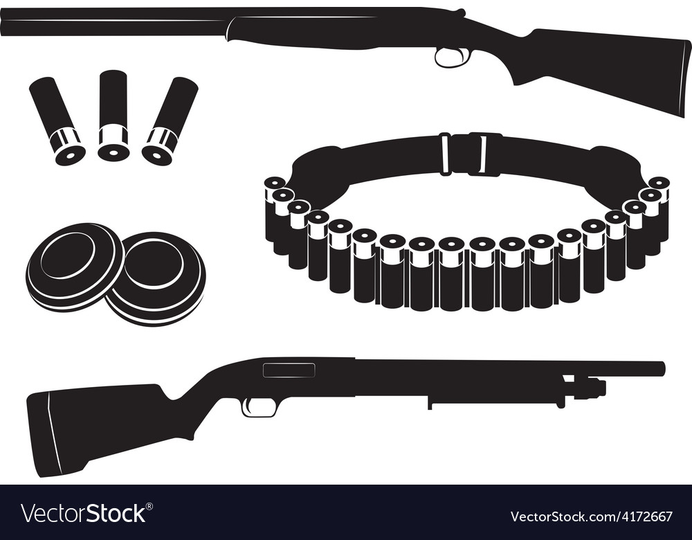 Set of shotgun and hunting equipment