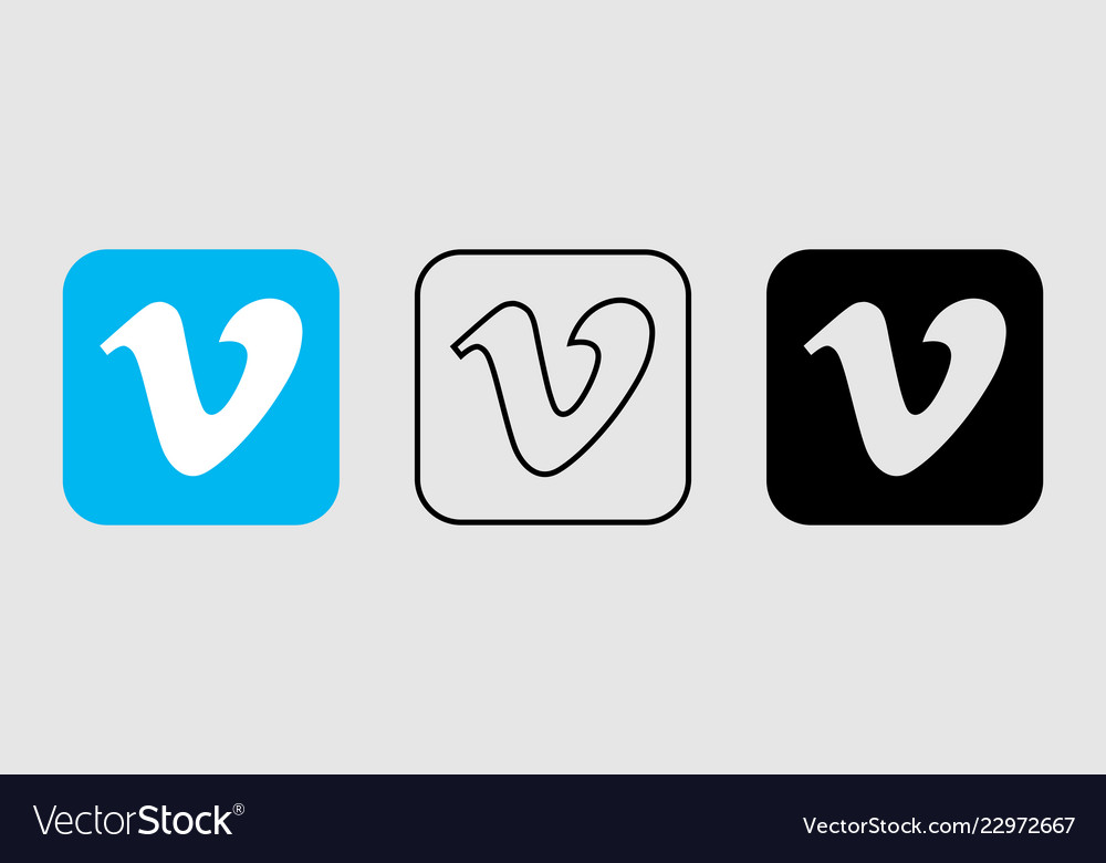 Social media icon set for vimeo in different style