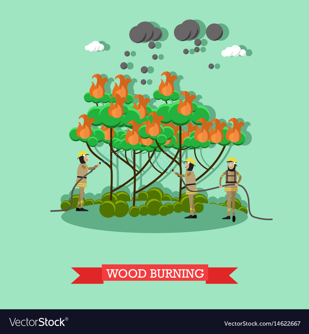 Wood burning in flat style
