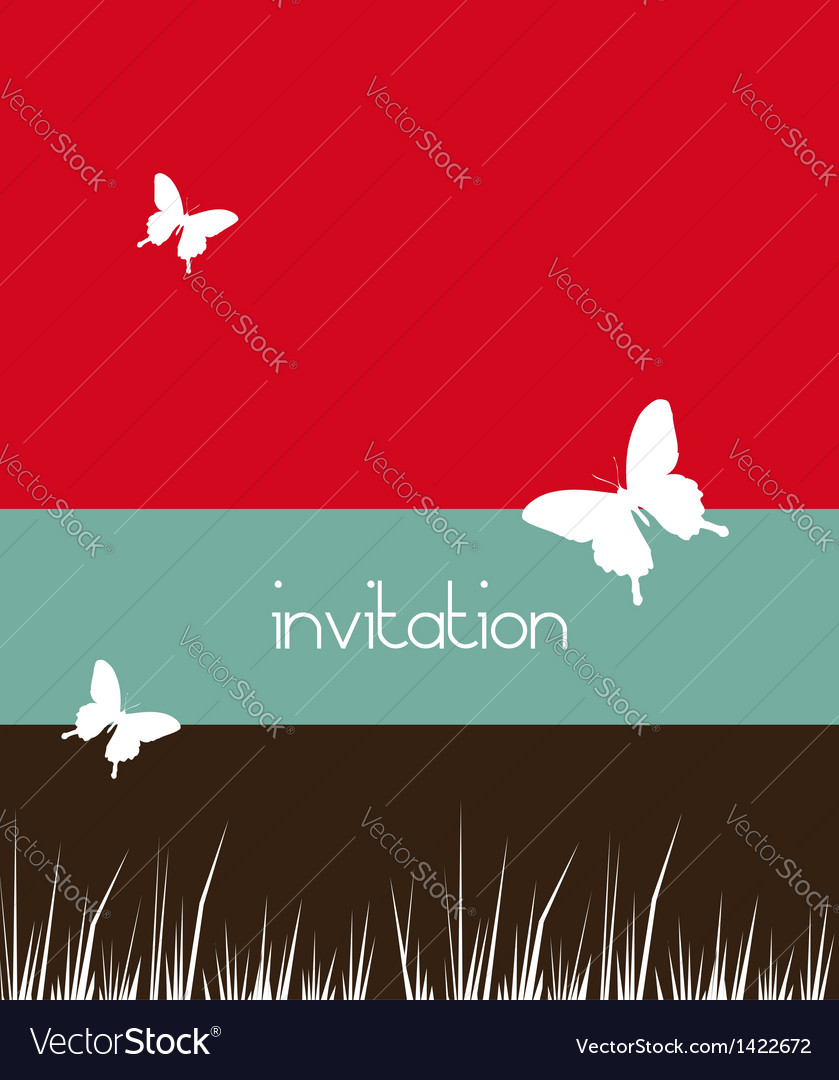 Butterflies and grass background vector image