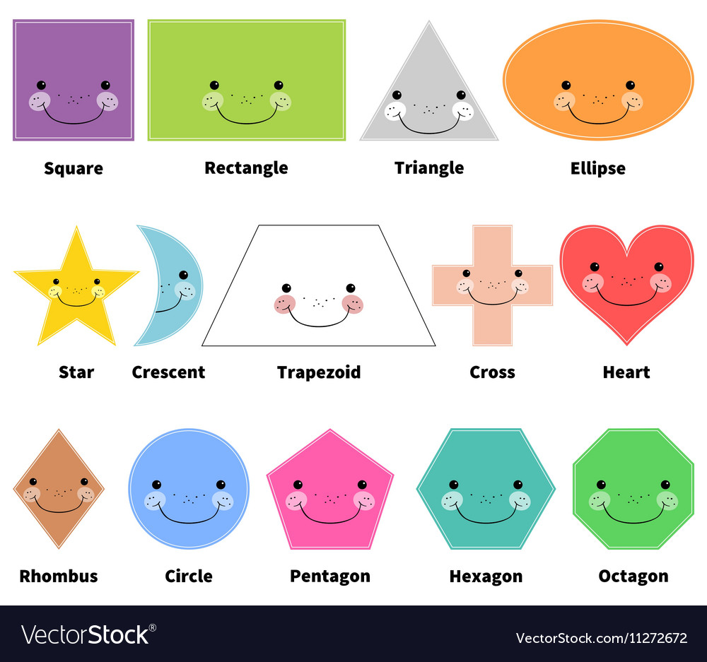 Learn 2d Shapes Cartoon Smiling Shapes For Kids Vector Image