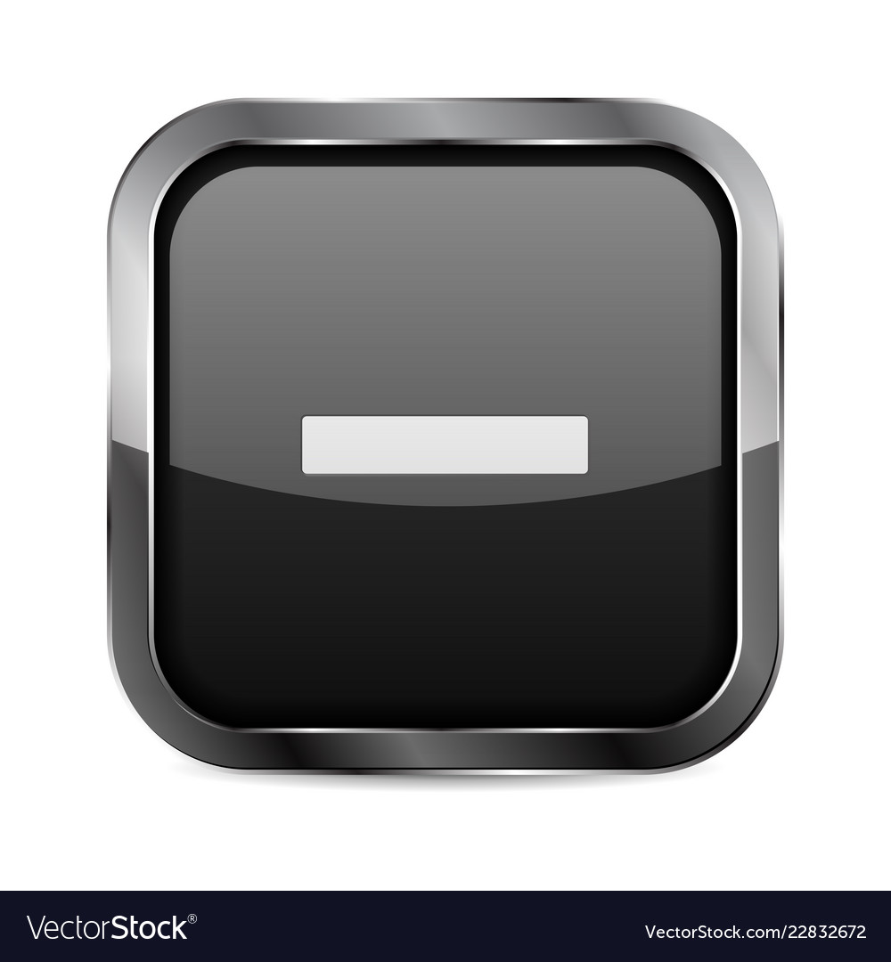 4d2a72a0096 Minus button black glass 3d icon with metal frame Vector Image