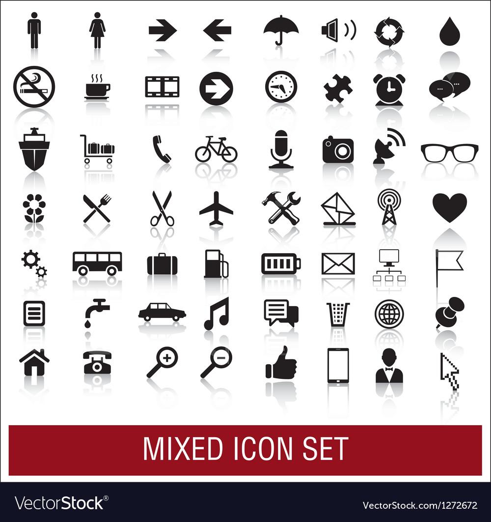 Mixed icon set vector image
