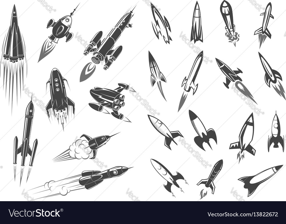 Rockets spaceship cartoon retro icons set