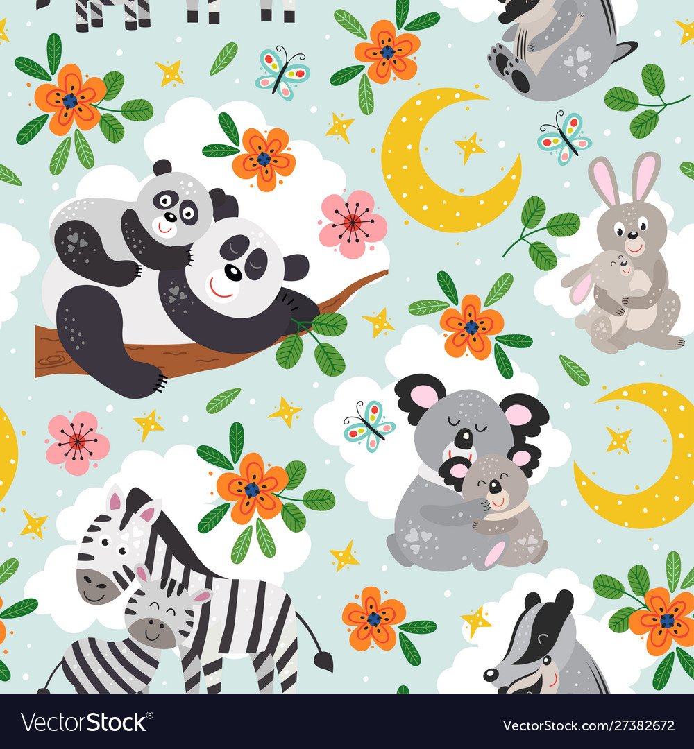 Seamless pattern with cute animals mother and baby