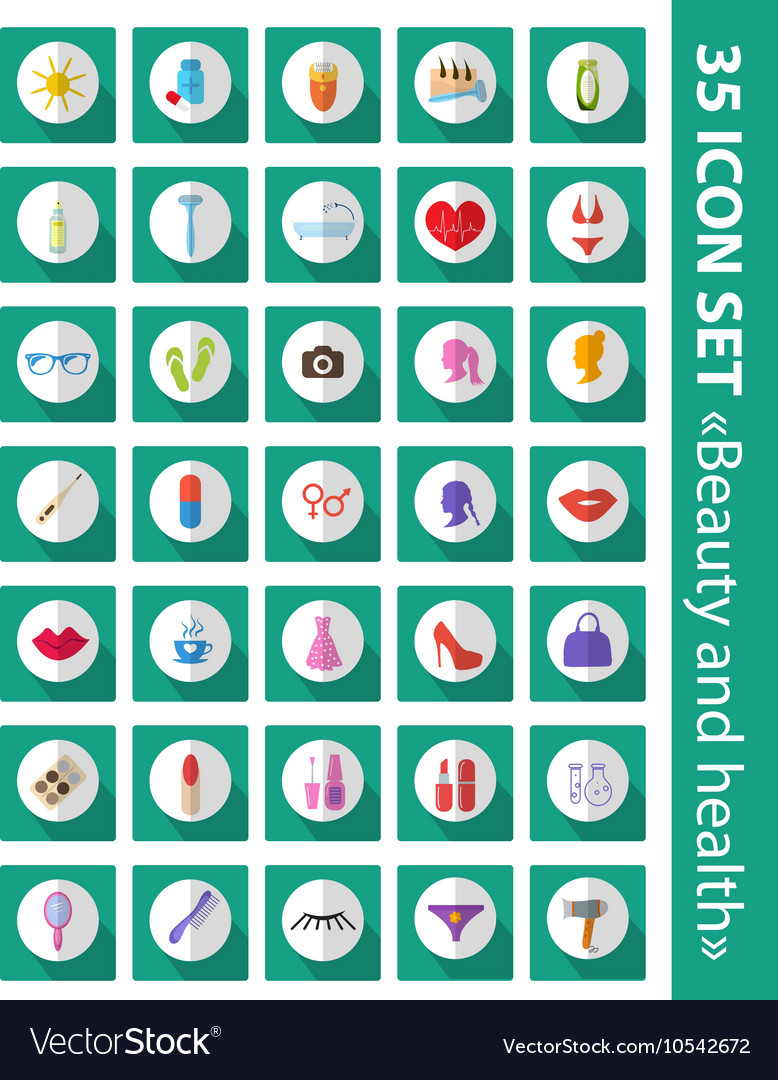 Set of flat icons beauty fashion health Cosmetics vector image