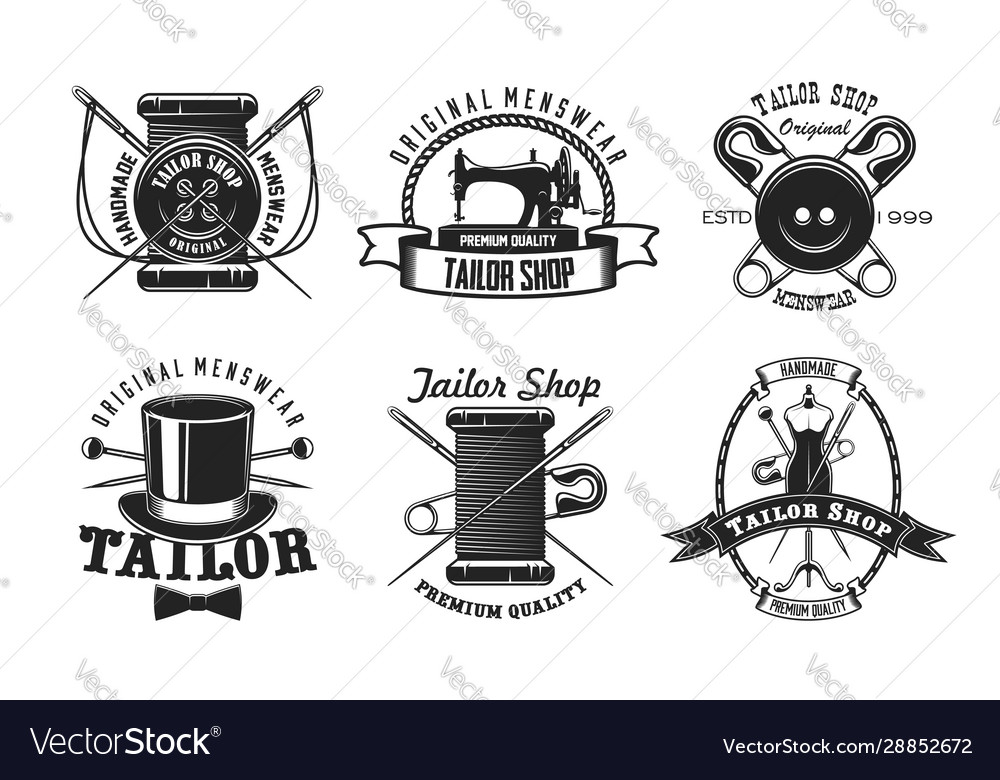 Tailor sewing machine button and needle icons