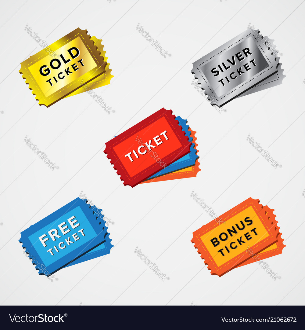 Ticket icon set differen color of ticket icon