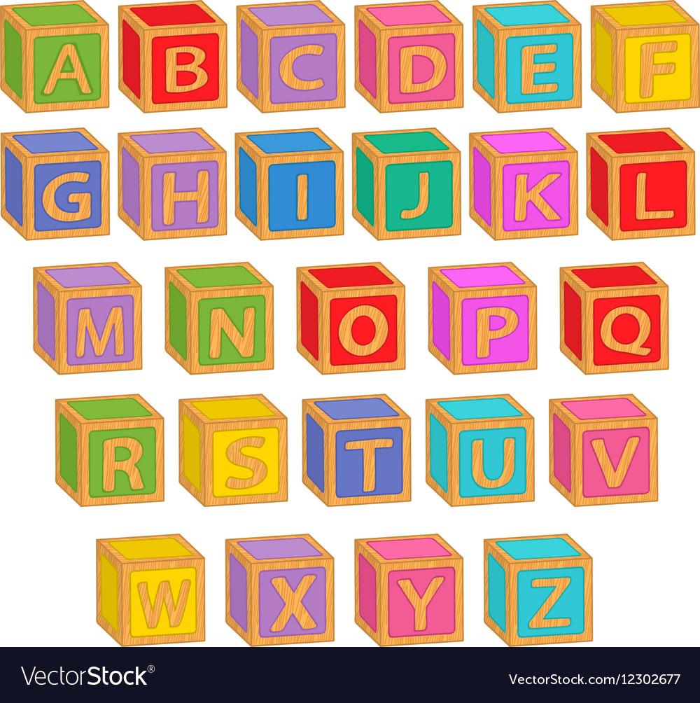 Alphabet english colorful blocks vector image