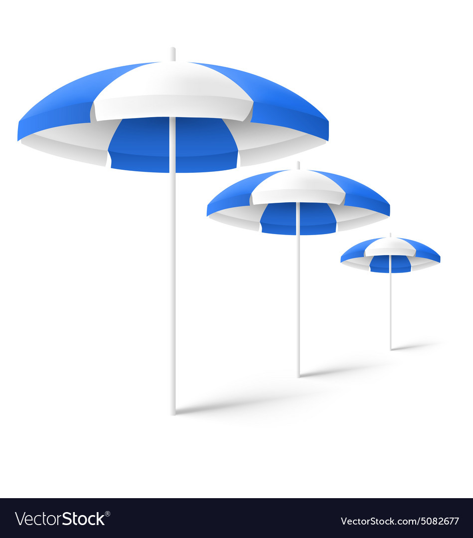 Blue sun beach umbrellas isolated on white vector image