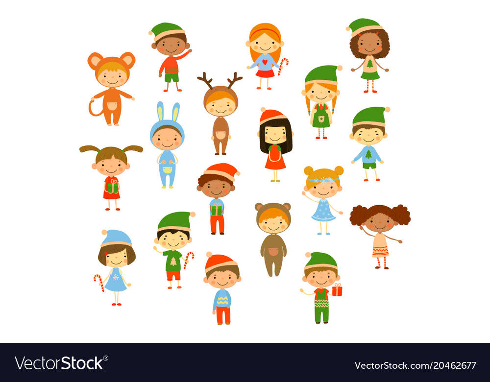 Cartoon collection of little children in different