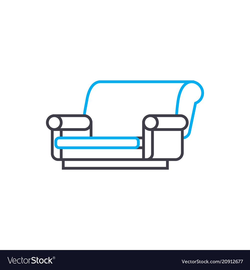 Cloth sofa linear icon concept cloth sofa line